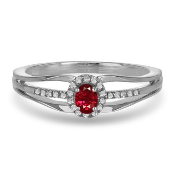 10K WG and diamond and Ruby halo style birthstone ring