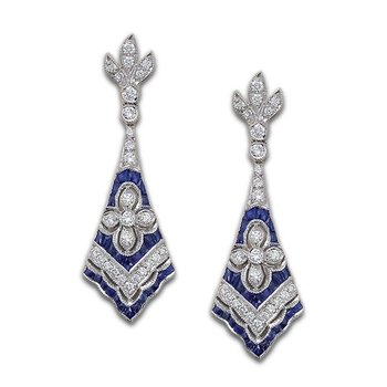 Sapphire and Diamond Fan Earrings