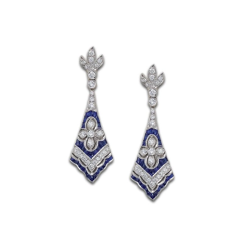 James Breski Sapphire and Diamond Fan Earrings