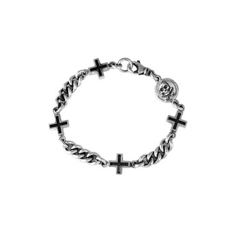 Chain Bracelet W/ Ancient Crosses And Small Skull Coin