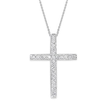 Diamond Cross Necklace in 14K White Gold with 25 Diamonds Weighing  .25ct tw