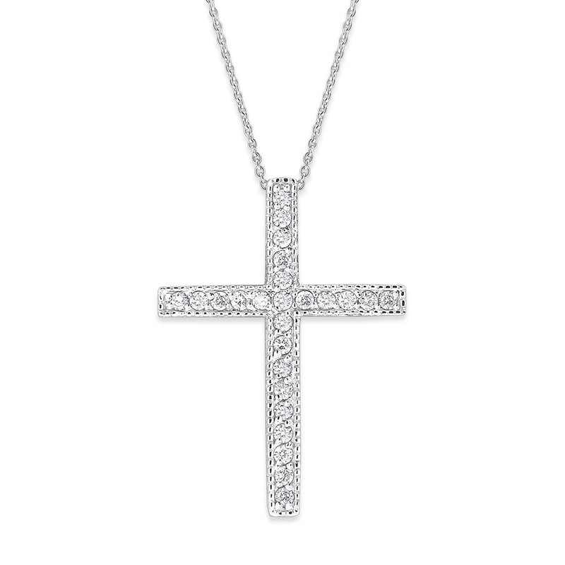 KC Designs Diamond Cross Necklace in 14K White Gold with 25 Diamonds Weighing  .25ct tw