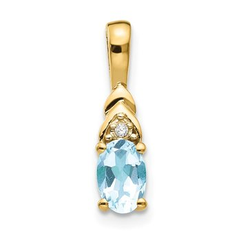 14k Aquamarine and Diamond Pendant