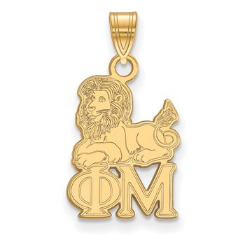 Gold-Plated Sterling Silver Phi Mu Greek Life Pendant