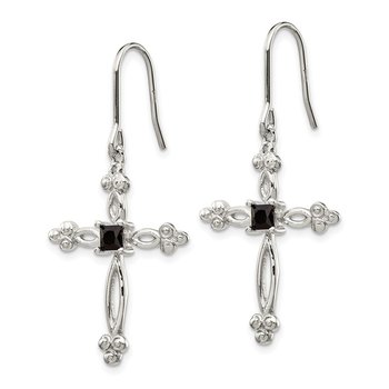 Sterling Silver Diamond Accent CZ Cross Earrings