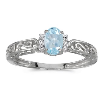 10k White Gold Oval Aquamarine And Diamond Ring