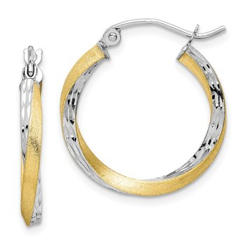 10k & Rhodium Diamond-cut 2.5mm Twisted Hoop Earrings