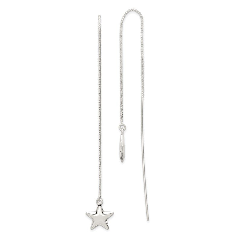 Quality Gold Sterling Silver Star Threader Earrings
