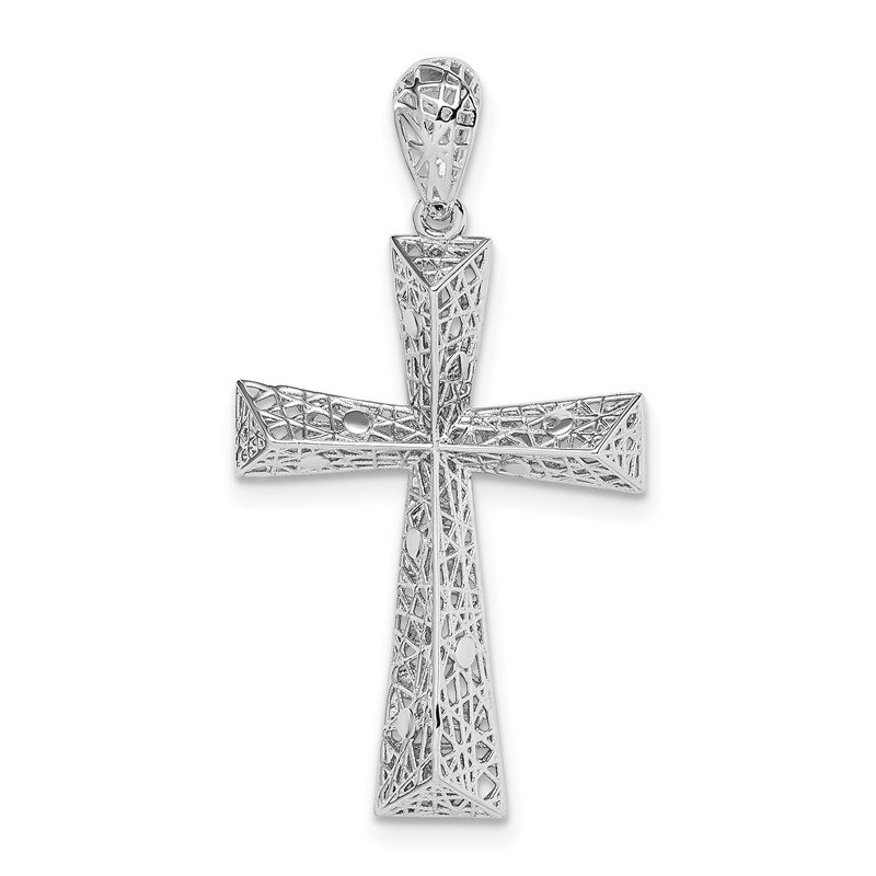 Quality Gold Sterling Silver Rhodium-plated Cross Pendant