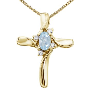 14K Yellow Gold Aquamarine and Diamond Cross Pendant