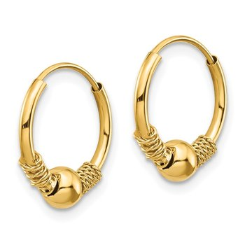 14k Madi K Endless Hoop w/Bead Earrings