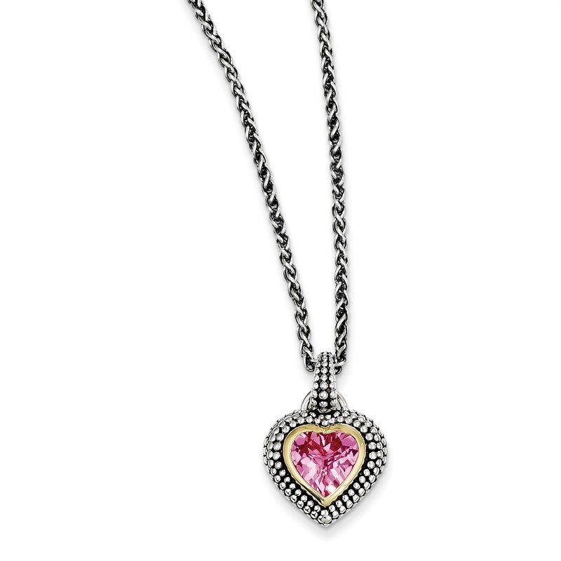 Lester Martin Online Collection Sterling Silver w/14k 8mm Created Pink Sapphire Necklace