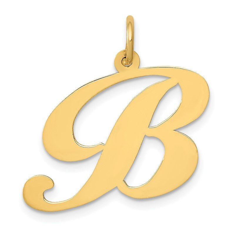 Quality Gold 14k Large Fancy Script Letter B Initial Charm