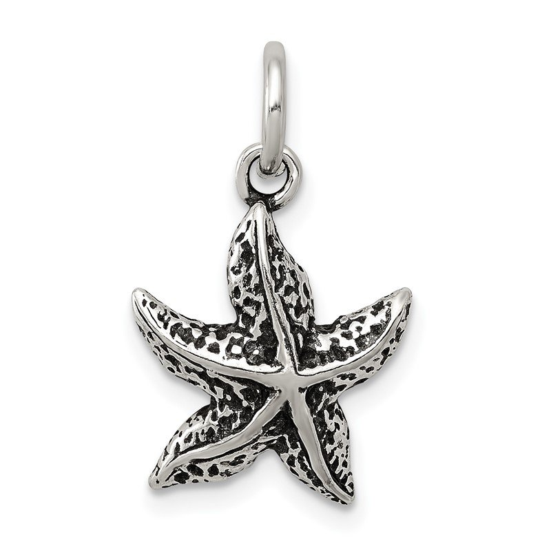 Quality Gold Sterling Silver Antiqued Starfish Charm