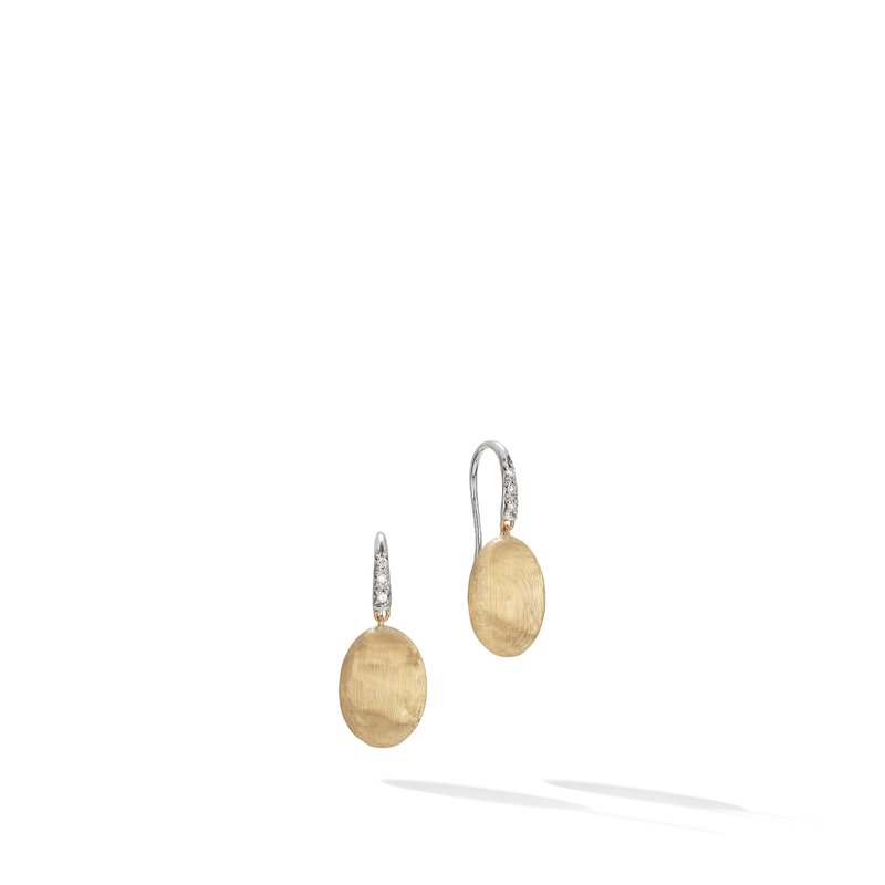 Marco Bicego Siviglia Grande Yellow Gold and Diamond French Hook Earring