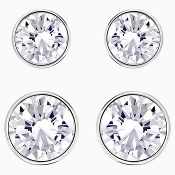 Harley Pierced Earring Set, White, Rhodium plated
