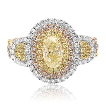 Triple Halo Oval Diamond Ring