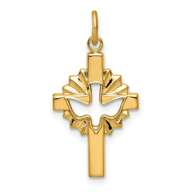Quality Gold Sterling Silver Gold Tone Dove & Cross Pendant