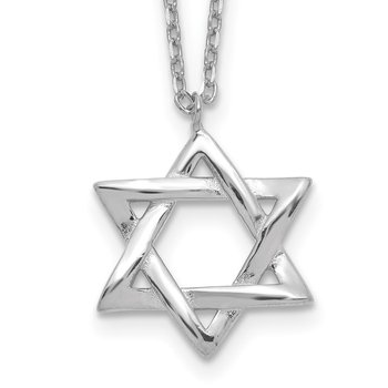 Sterling Silver Rhodium-plated Star of David w/ 1in ext. Necklace