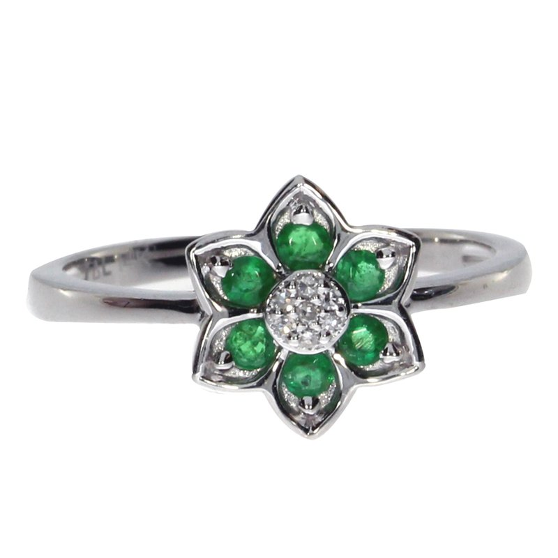 Color Merchants 14k White Gold Emerald Star Ring