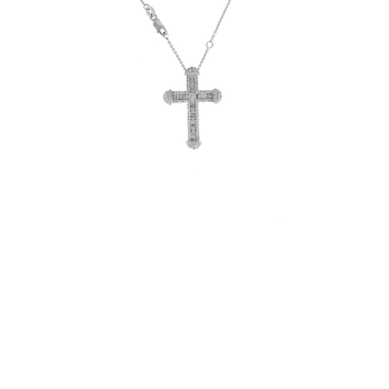 18KT WHITE GOLD DIAMOND CLASSIC CROSS PENDANT