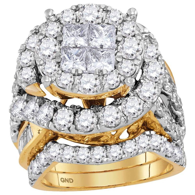 Gold-N-Diamonds 14kt Yellow Gold Womens Princess Diamond Bridal Wedding Engagement Ring Band Set 5-5/8 Cttw