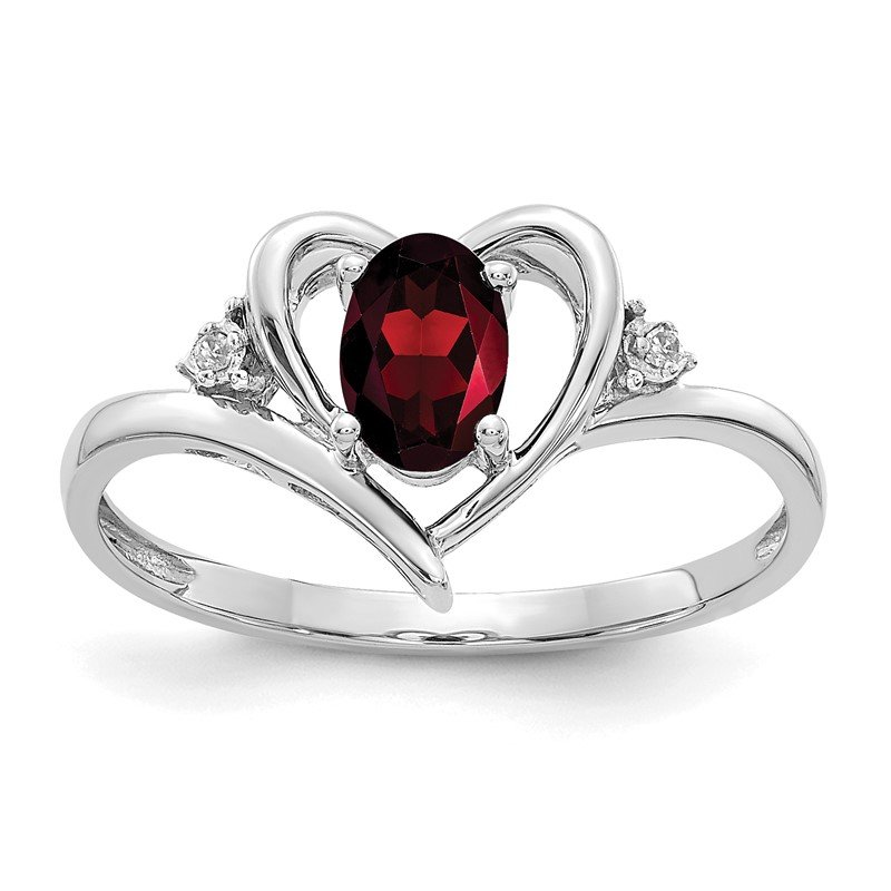 Fine Jewelry by JBD 14k White Gold Garnet and Diamond Heart Ring