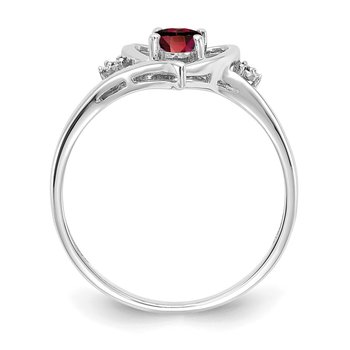 14k White Gold Garnet and Diamond Heart Ring