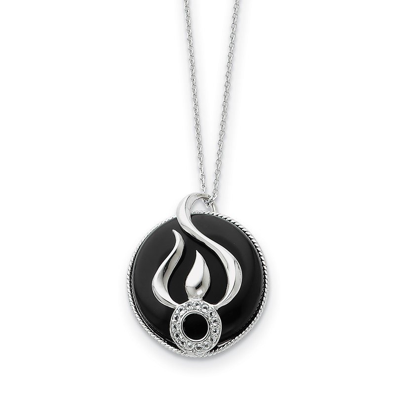 Quality Gold Sterling Silver Onyx and CZ Fear Less 18in Necklace