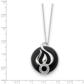 Sterling Silver Onyx and CZ Fear Less 18in Necklace