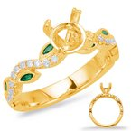 S. Kashi & Sons Bridal Yellow Gold & Emerald Engagement Ring