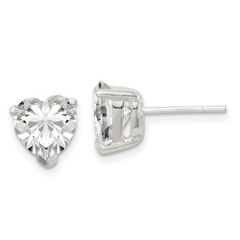 Sterling Silver 8mm Heart Basket Set CZ Stud Earrings