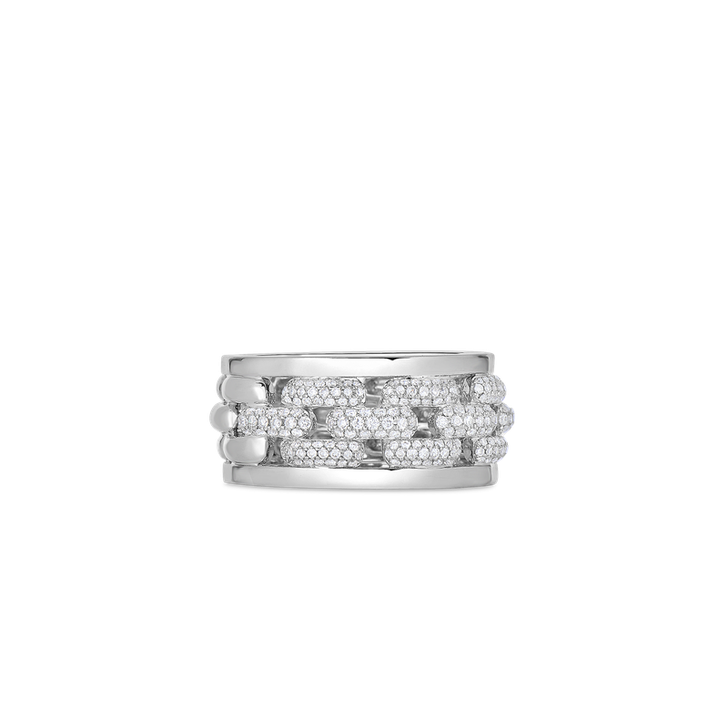 Roberto Coin Ring With Diamonds &Ndash; 18K White Gold, 6.5