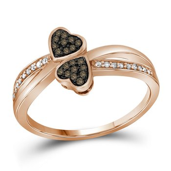 10kt Rose Gold Womens Round Cognac-brown Color Enhanced Diamond Heart Love Ring 1/10 Cttw
