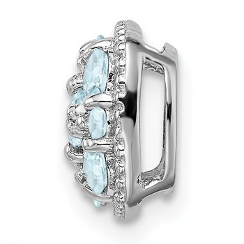 Sterling Silver Rhodium Plated Aquamarine Square Pendant Slide