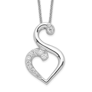 Sterling Silver & CZ Journey of Friendship 18in Necklace