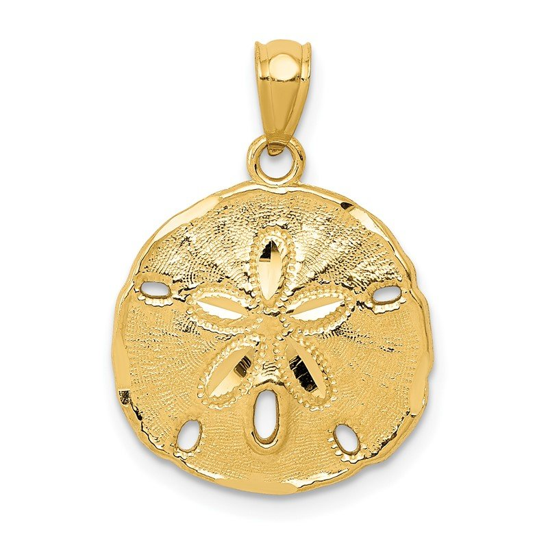 Quality Gold 14k Gold Polished Large Sand Dollar Pendant