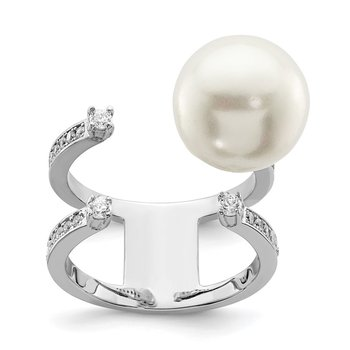Sterling Silver Rhodium-plated Simulated Pearl & CZ Adjustable Ring