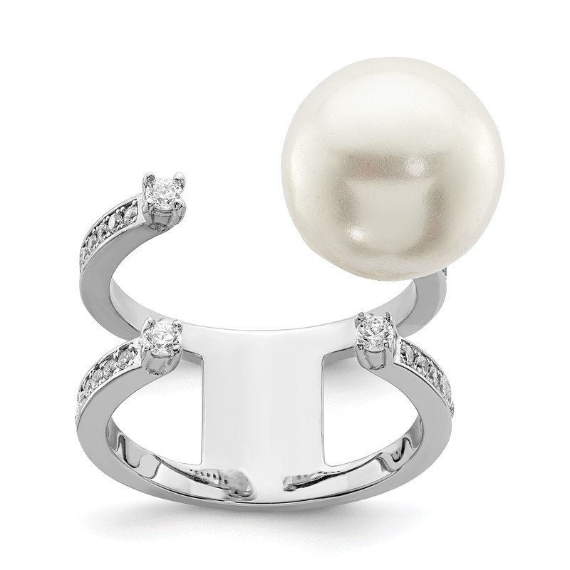 Quality Gold Sterling Silver Rhodium-plated Simulated Pearl & CZ Adjustable Ring