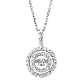 SILVER 0.01CTW CIRCLE DBL HALO HEARTBEAT WITH MP PENDANT