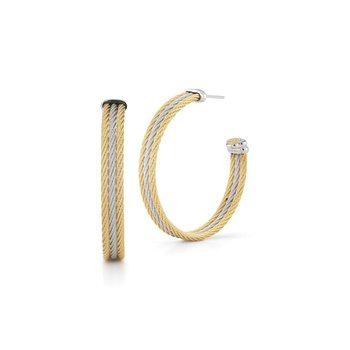 Grey & Yellow Cable Intersection Hoop Earrings with 18kt White Gold