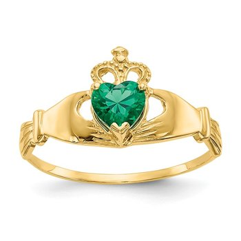 14k Green CZ Polished Claddagh Ring