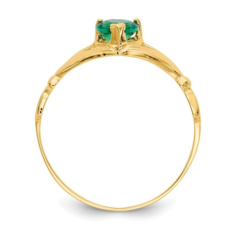 Quality Gold 14k Green CZ Polished Claddagh Ring