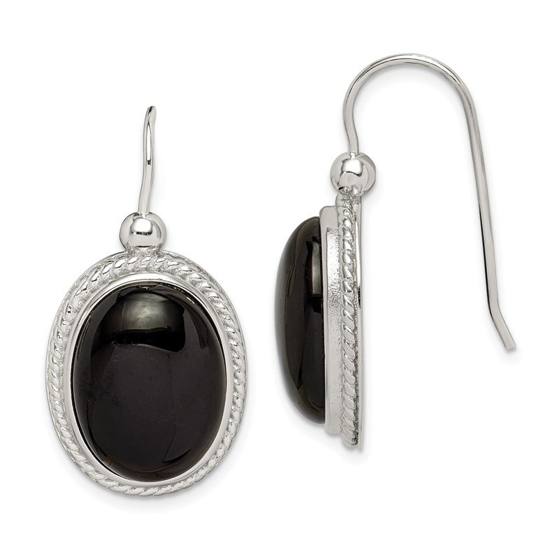 Fine Jewelry by JBD Sterling Silver Black Agate Dangle Earrings