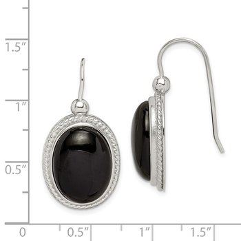 Sterling Silver Black Agate Dangle Earrings