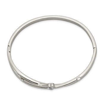 Stainless Steel Polished Heart CZ Hinged Bangle
