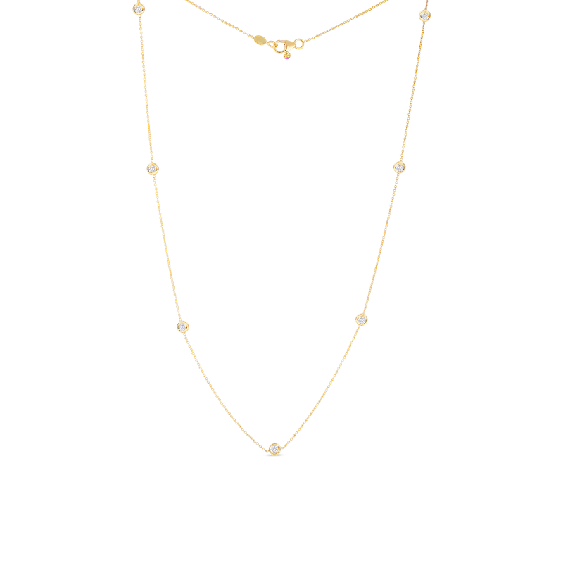 Roberto Coin 18Kt Gold Necklace With 7 Diamond Stations
