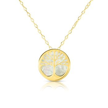 14K Gold Tree of Life Mother of Pearl Necklace
