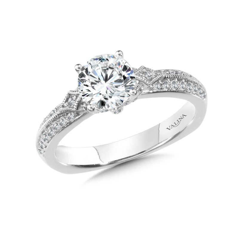 Valina Diamond Engagement Ring Mounting in 14K White Gold (0.33 ct. tw.)