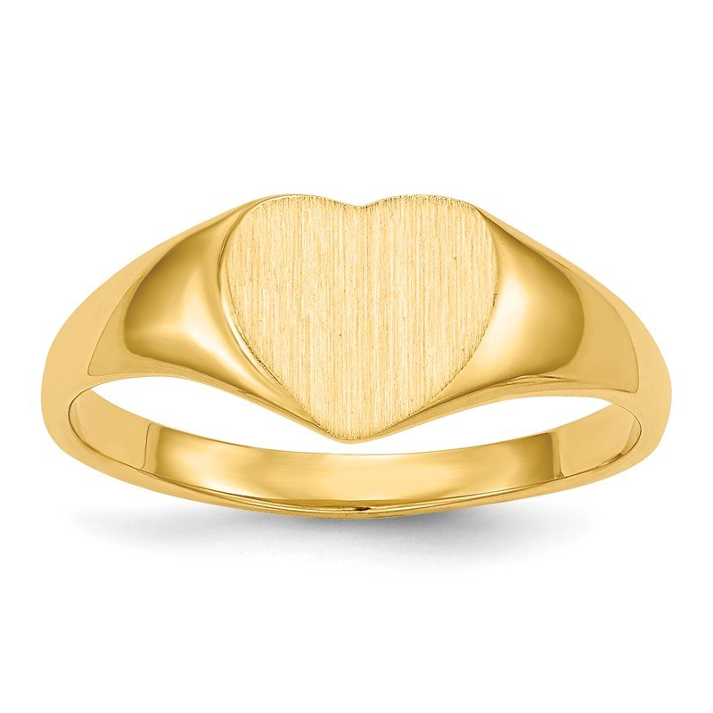 Quality Gold 14k 7.5x8.5mm Closed Back Heart Signet Ring